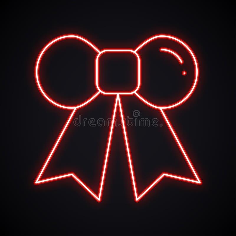 Teken van de neon retro boog Gloeiend giftlint Helder huidig element op een donkere achtergrond royalty-vrije illustratie