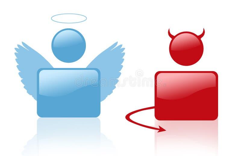 Teken van duivel en engel royalty-vrije illustratie