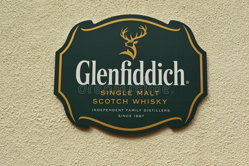 Teken van Glenfiddich het Enige Malt Whisky royalty-vrije stock fotografie