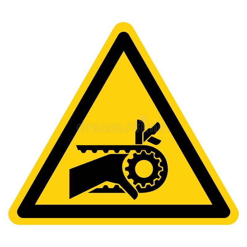 Teken van het de Aandrijvingssymbool van de hand isoleert het Verwarring Ingekerfte Riem op Witte Achtergrond, Vectorillustratie royalty-vrije illustratie