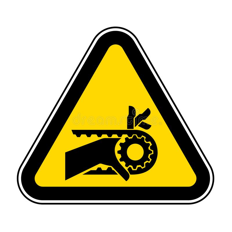 Teken van het de Aandrijvingssymbool van de hand isoleert het Verwarring Ingekerfte Riem, Vectorillustratie, op Wit Etiket Als ac vector illustratie