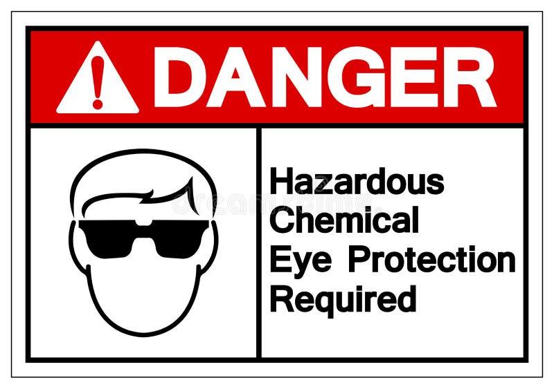 Teken van het de Beschermings Vereiste Symbool van de gevaars isoleert het Gevaarlijke Chemische Ogen, Vectorillustratie, op Wit  vector illustratie