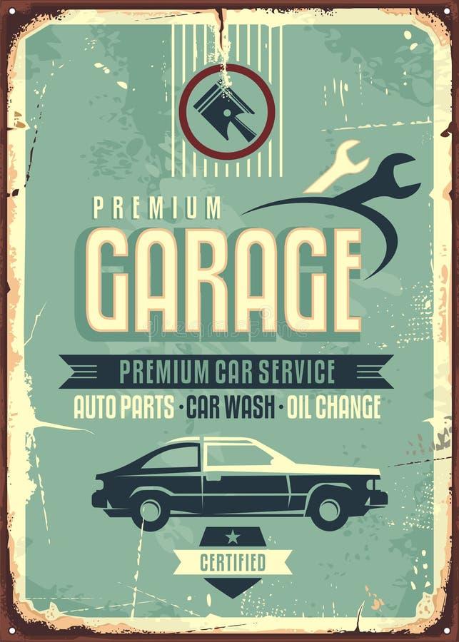 Teken van het garage het uitstekende tin stock illustratie