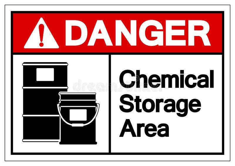 Teken van het het Gebiedssymbool van de gevaars isoleert het Chemische Opslag, Vectorillustratie, op Wit Etiket Als achtergrond E stock illustratie