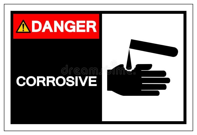 Teken van het gevaars het Corrosieve Symbool, Vectorillustratie, die op Wit Etiket wordt geïsoleerd Als achtergrond EPS10 royalty-vrije illustratie