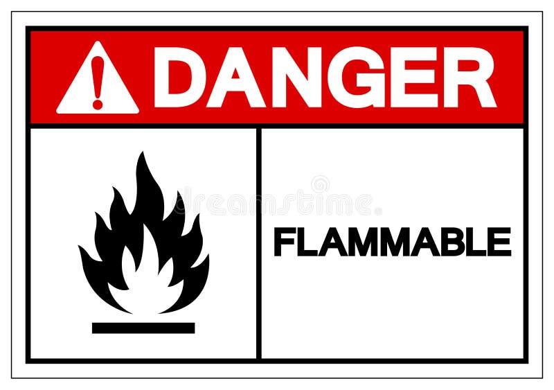 Teken van het gevaars isoleert het Brandbare Symbool, Vectorillustratie, op Wit Etiket Als achtergrond EPS10 stock illustratie