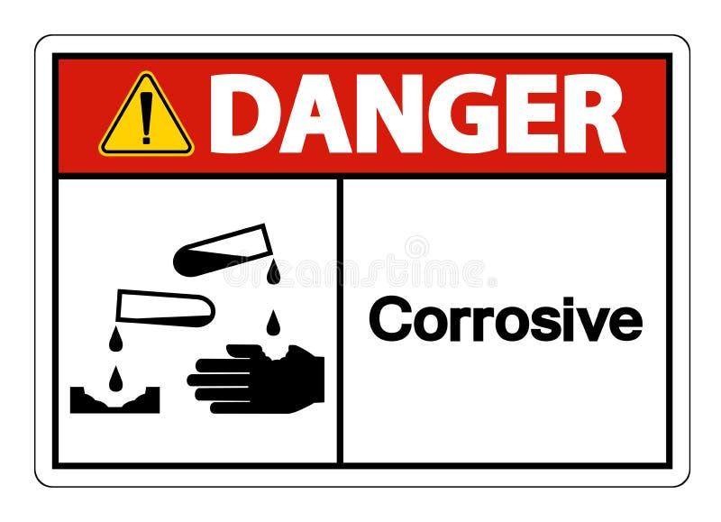 Teken van het gevaars isoleert het Corrosieve Symbool op Witte Achtergrond, Vectorillustratie stock illustratie