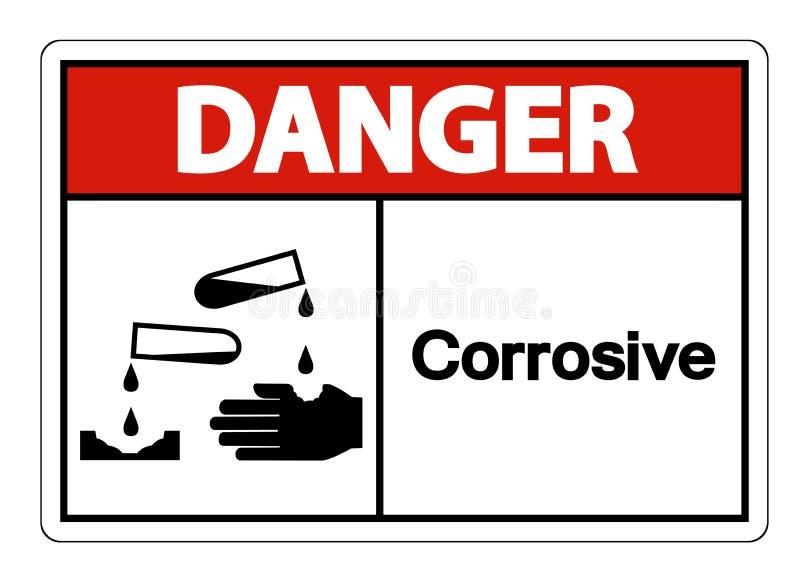 Teken van het gevaars isoleert het Corrosieve Symbool op Witte Achtergrond, Vectorillustratie royalty-vrije illustratie