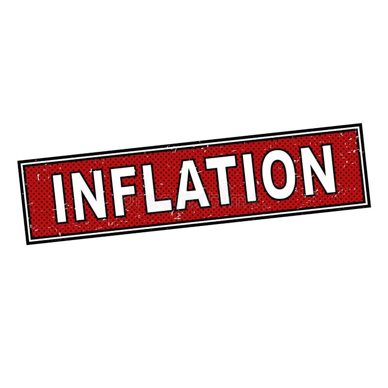 Teken van het inflatie het rode grungy pop-art met tekst stock illustratie