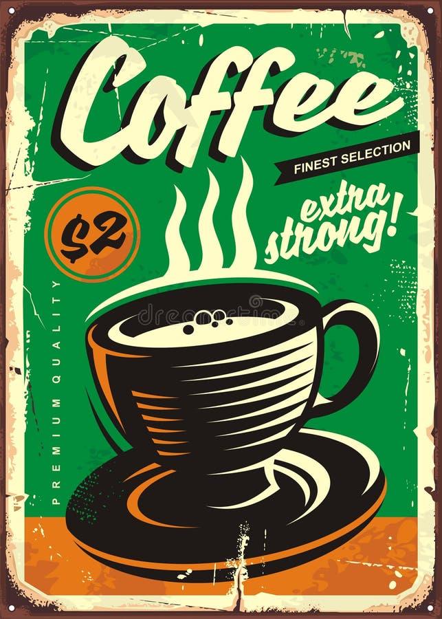Teken van het koffie het uitstekende tin royalty-vrije illustratie