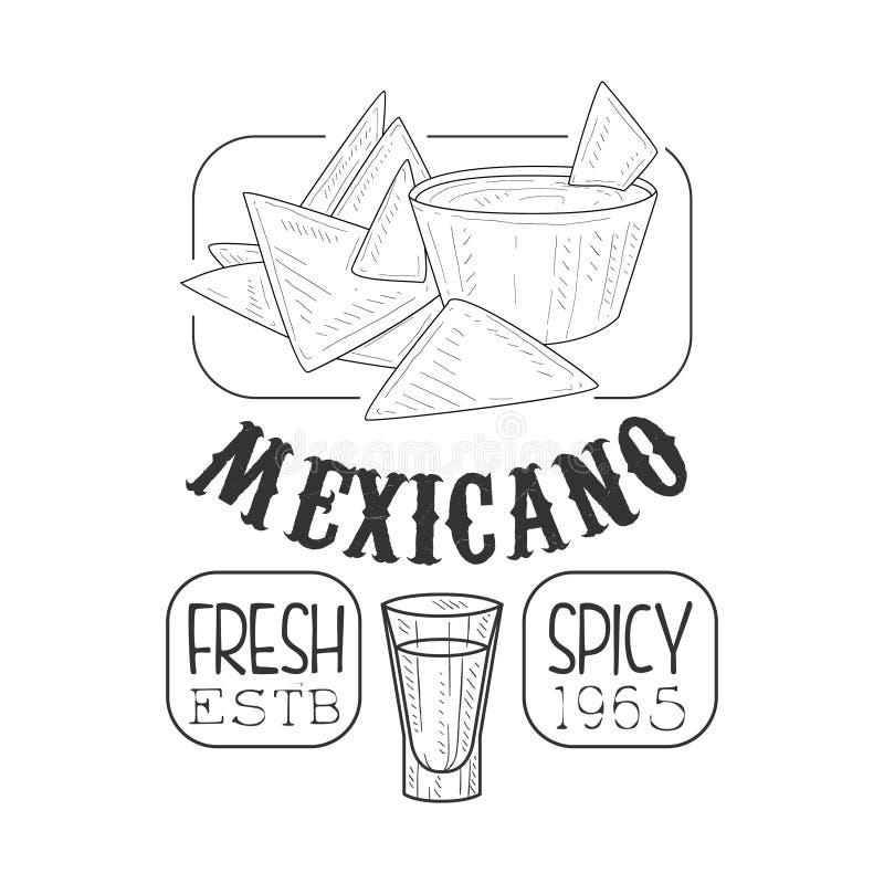 Teken van het Menupromo van het restaurant het Verse Mexicaanse Voedsel in Schetsstijl met Nachos en Onderdompeling, Zwart-wit On vector illustratie