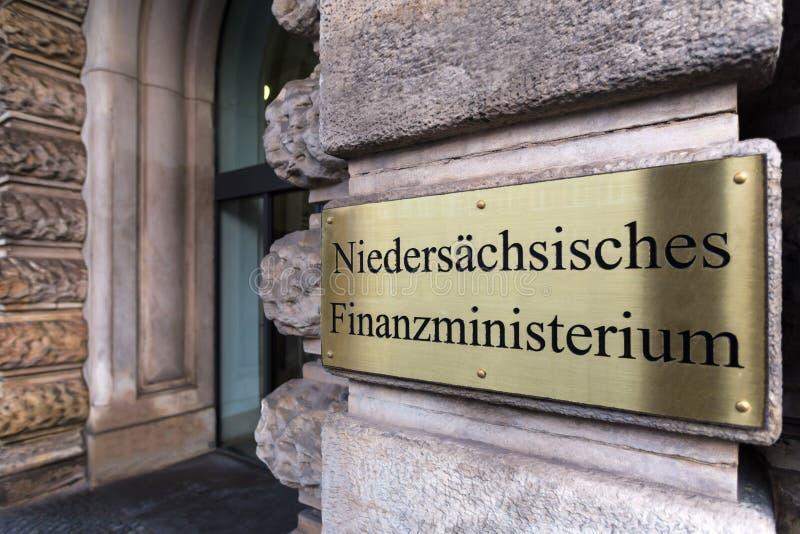 Teken van het Ministerie van Nedersaksen van Financiën in Hanover Duitsland royalty-vrije stock foto