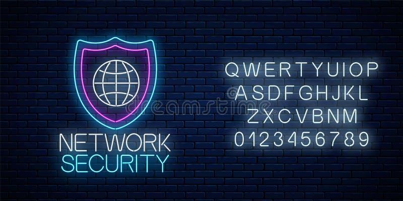 Teken van het netwerkbeveiliging het gloeiende neon met alfabet Internet-beschermingssymbool met schild en bol Vector illustratie stock illustratie
