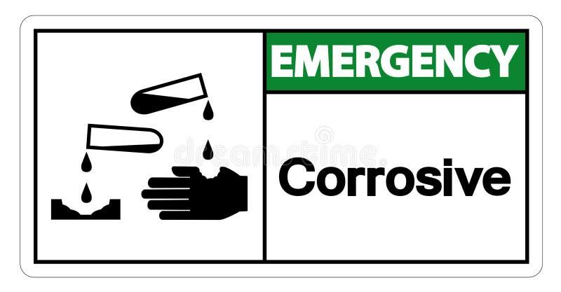 Teken van het noodsituatie isoleert het Corrosieve Symbool op Witte Achtergrond, Vectorillustratie stock illustratie