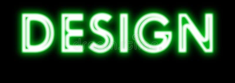 Teken van het ontwerp het gloeiende neon in groen royalty-vrije stock afbeelding