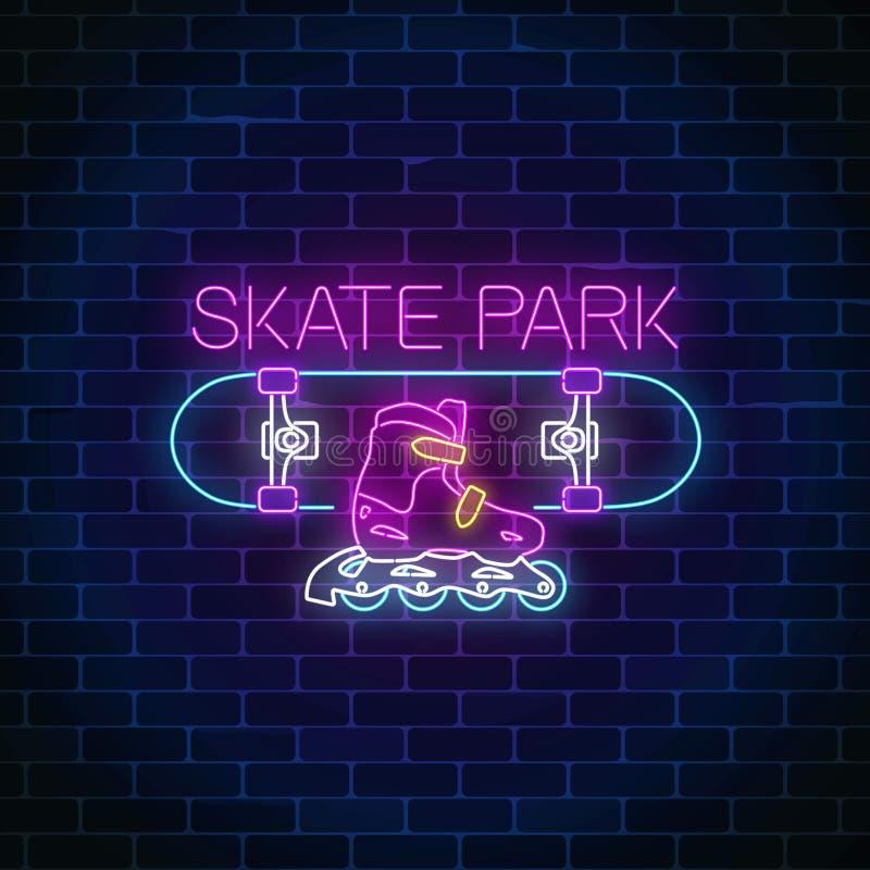 Teken van het Skatepark het gloeiende neon Het schaatsen op skateboard en van de rollenstreek symbool in neonstijl stock illustratie
