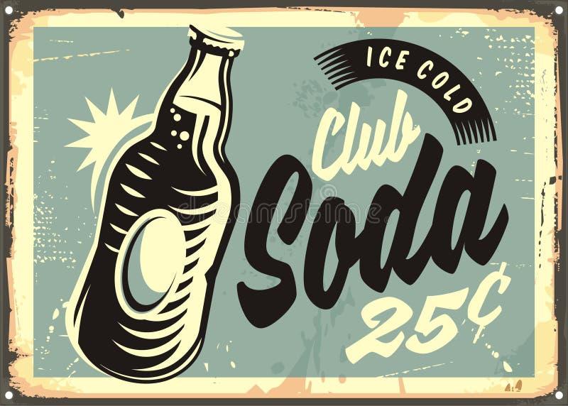 Teken van het sodawater het promotie retro tin stock illustratie