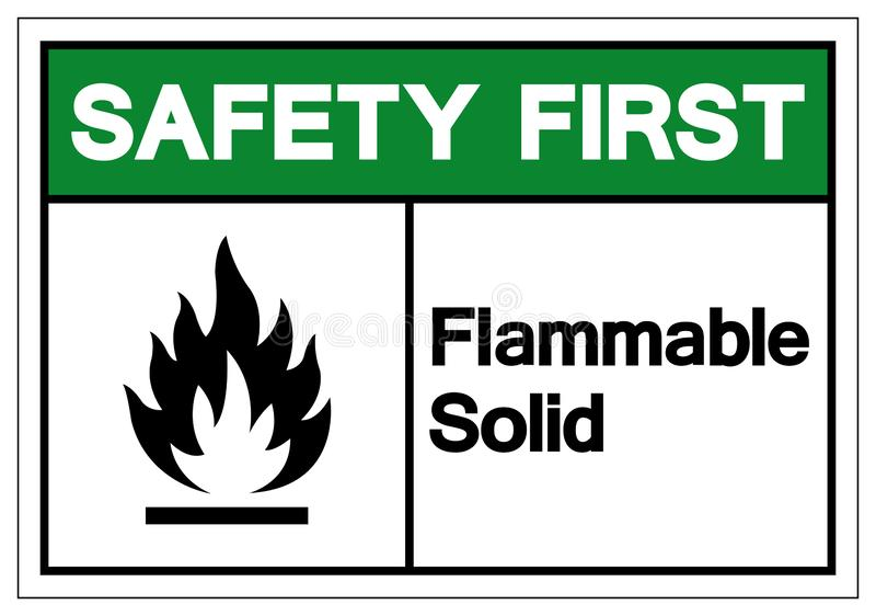 Teken van het veiligheids isoleert het Eerste Brandbare Stevige Symbool, Vectorillustratie, op Wit Etiket Als achtergrond EPS10 vector illustratie