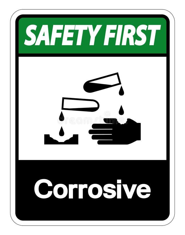 Teken van het veiligheids isoleert het eerste Corrosieve Symbool op Witte Achtergrond, Vectorillustratie royalty-vrije illustratie