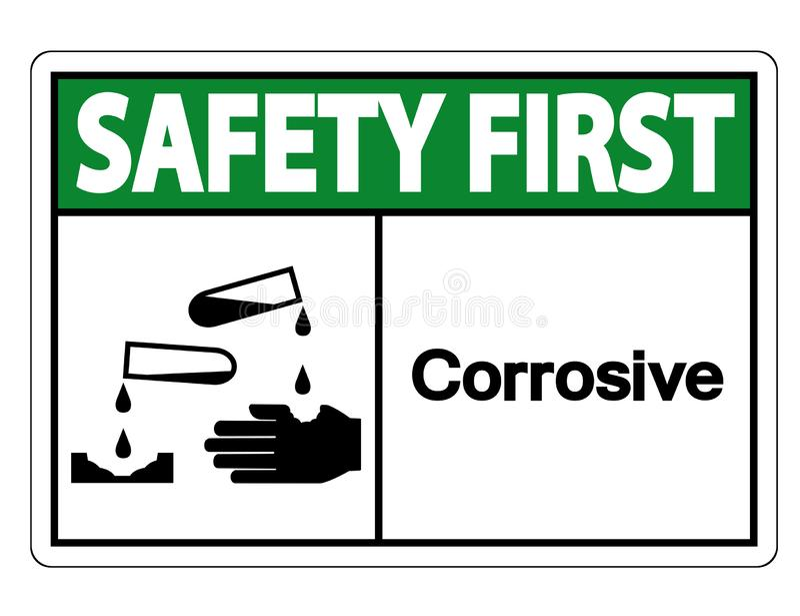 Teken van het veiligheids isoleert het eerste Corrosieve Symbool op Witte Achtergrond, Vectorillustratie vector illustratie