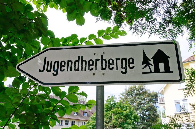 Teken van Jugendherberge (Duitse Jeugdherberg) stock foto