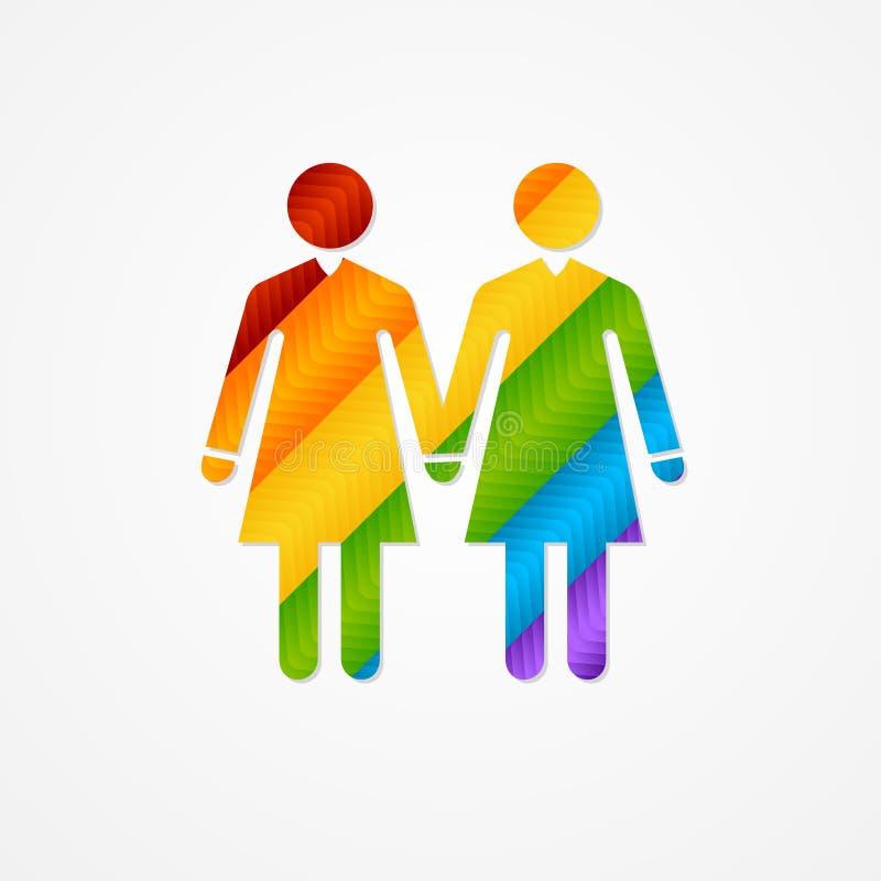 Teken van paarvrouwen LGBT-kaart stock illustratie