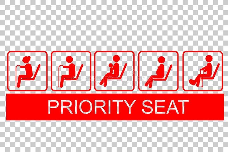 Teken van Prioriteit Seat vector illustratie