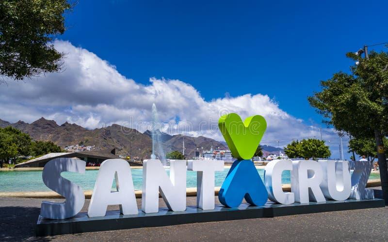 Teken van Santa Cruz de Tenerife stock afbeeldingen
