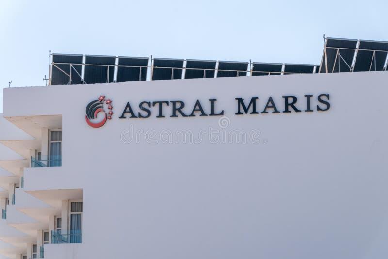 Teken van Stervormig Maris-hotel in Eilat stock afbeeldingen