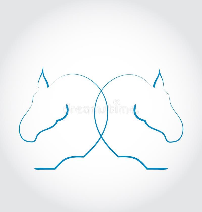 Teken van twee paarden gestileerde getrokken hand