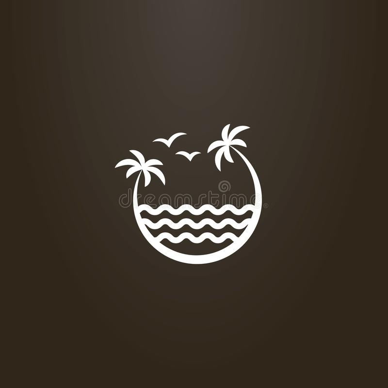 Teken van twee palmen die over de overzeese golven leunen vector illustratie