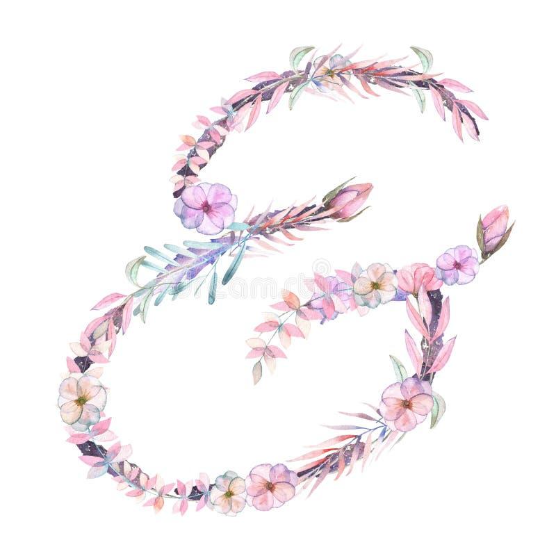 Teken `` & `` van waterverf roze en purpere bloemen, geïsoleerde die hand op een witte achtergrond wordt getrokken royalty-vrije illustratie