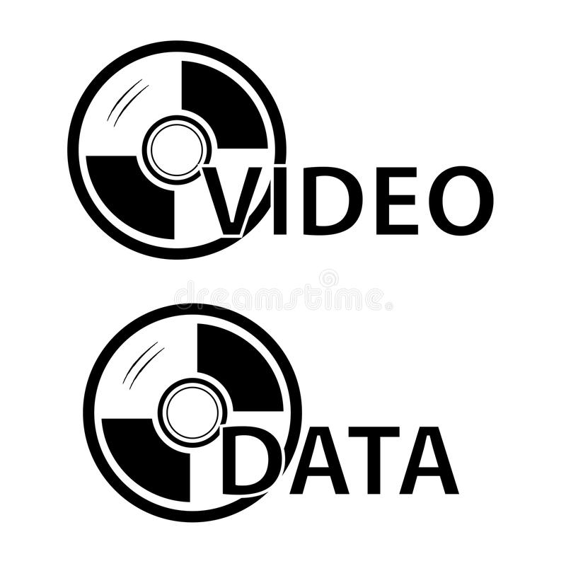Teken voor de de de Geïsoleerde Video, Foto en Gegevens van DVD, over Wit stock illustratie