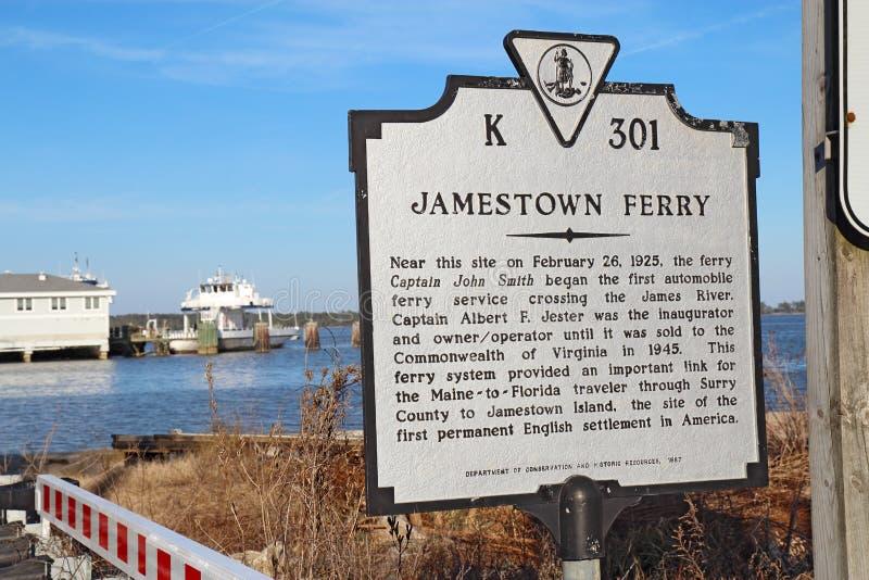 Teken voor de Jamestown-Veerboot van Surrey, Virginia stock foto