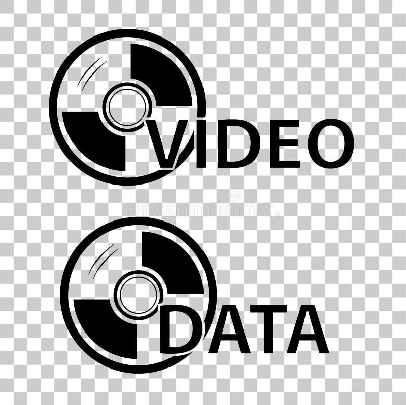 Teken voor de Video en de Gegevens van DVD, bij Transparante Effect Achtergrond stock illustratie