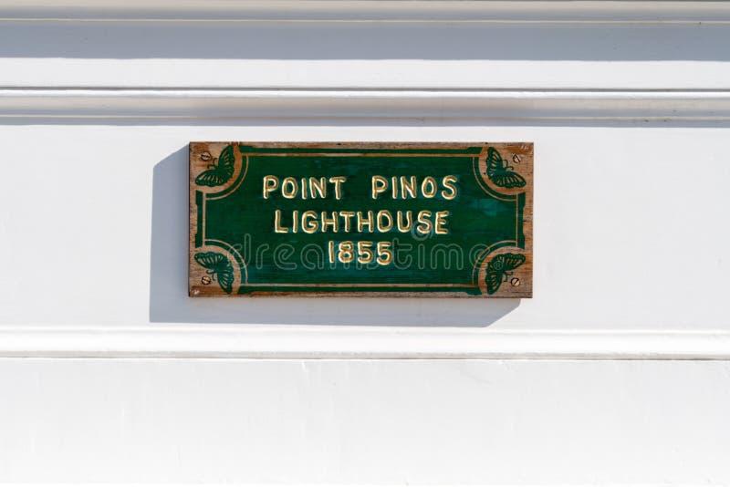 Teken voor de Vuurtoren van Puntpinos, de langste ononderbroken gebruiksvuurtoren op de Gevestigde Westkust royalty-vrije stock afbeelding