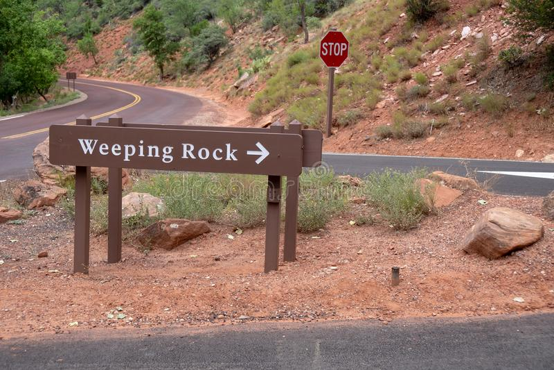Teken voor het Huilen van Rots, een gezichtspunt van een waterval in Zion National Park in Utah royalty-vrije stock fotografie