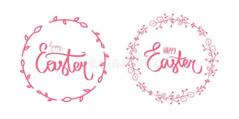 Teken voor uitnodiging door borstel Modern geïsoleerd malplaatje Donkerrode kaart met zoet Gelukkig Pasen-teken in donkerrode kle stock illustratie