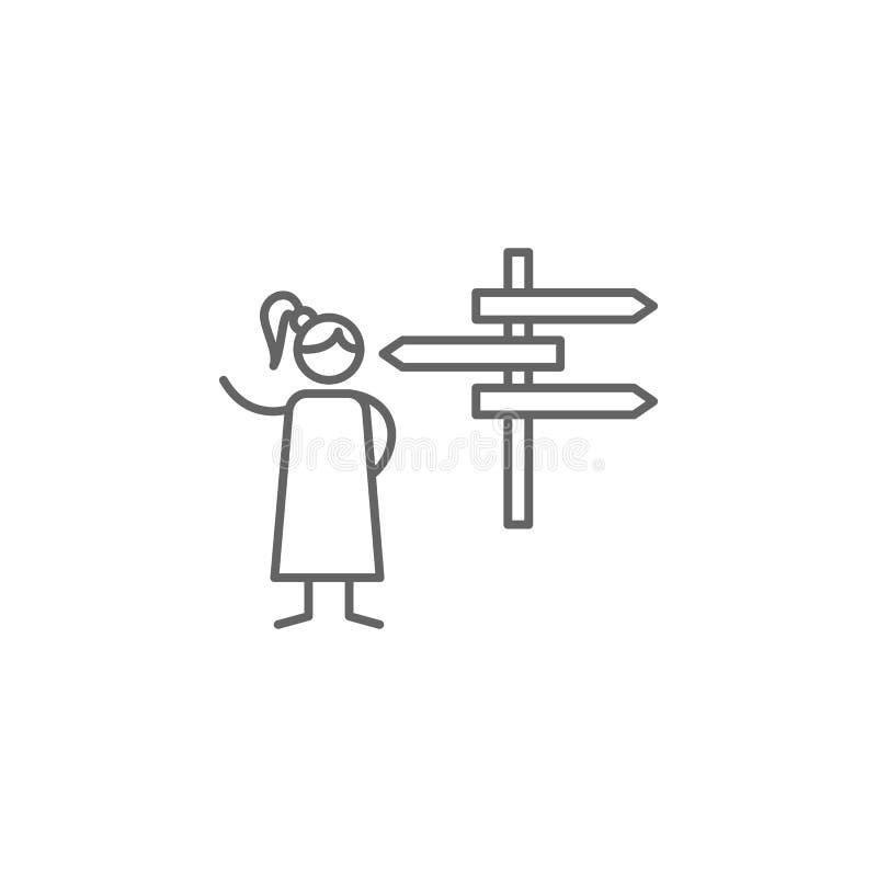 Teken, weg, avonturenpictogram Element van avonturenpictogram Dun lijnpictogram voor websiteontwerp en ontwikkeling, app ontwikke royalty-vrije illustratie