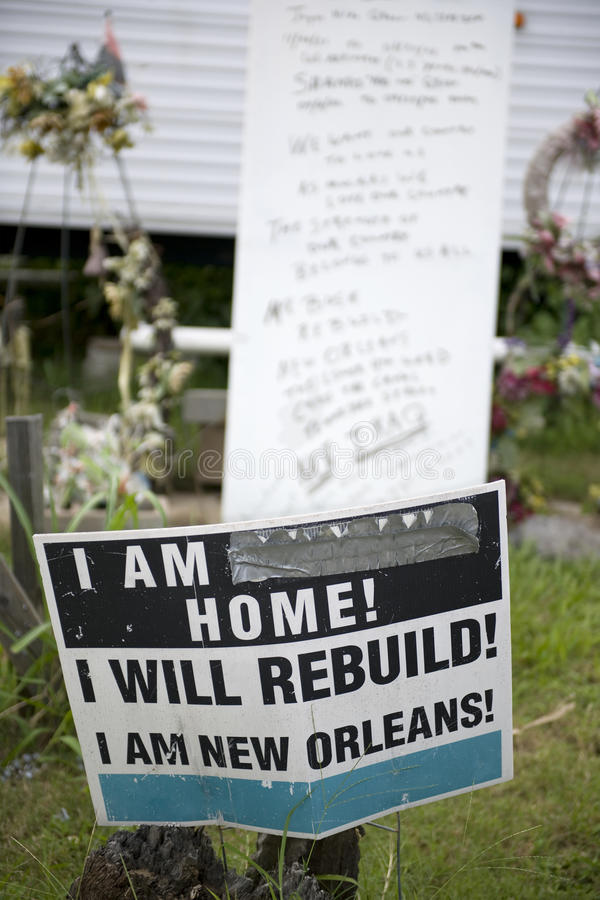 Teken in werf na Orkaan Katrina, New Orleans royalty-vrije stock foto's