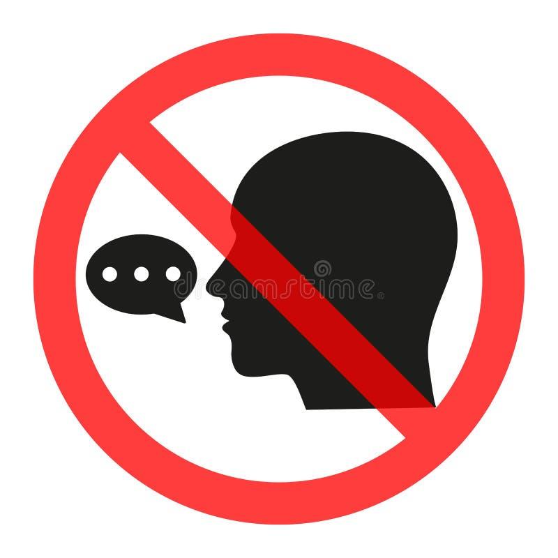 Teken wordt verboden die om te spreken Verbied de Verspreiding van informatie, roddel censuur stock illustratie
