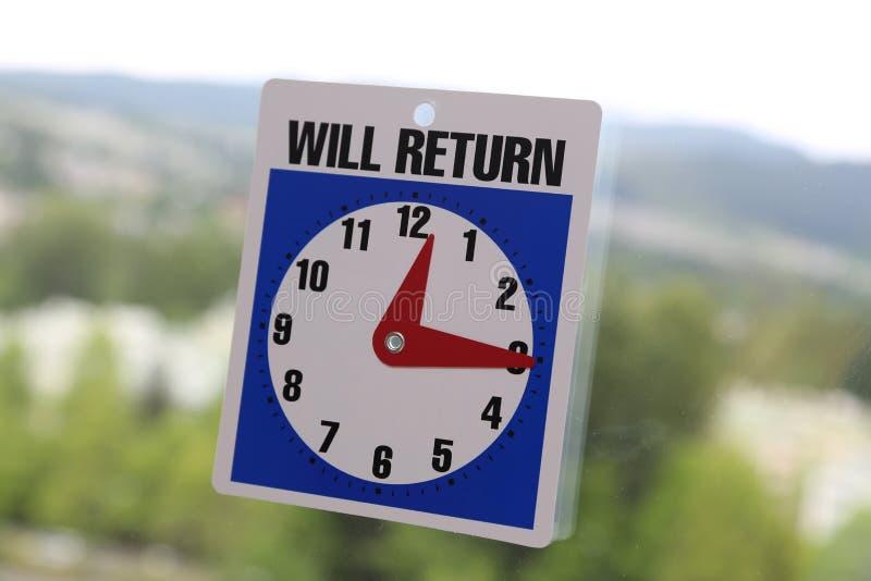 Teken zal terugkeren royalty-vrije stock foto
