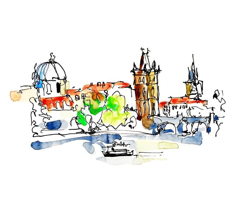 Tekening de uit de vrije hand van de waterverfschets van de bovenkant van de Tsjechische Republiek van Praag royalty-vrije illustratie
