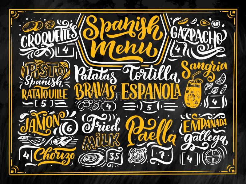 Tekening de uit de vrije hand van de schetsstijl van Spaans menu met verschillende voedselnamen, diverse elementen en hand het ge vector illustratie