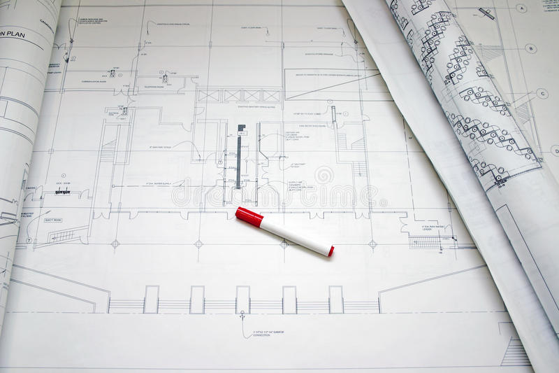 Tekening en pen stock afbeelding