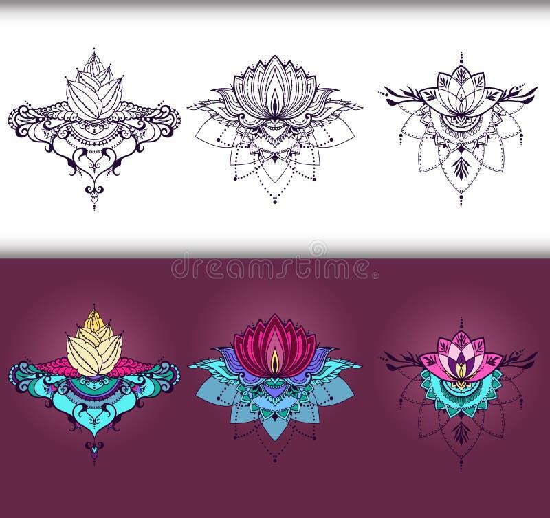 Tekening uit de vrije hand van lotusbloembloemen in de stijl van het oosten royalty-vrije illustratie