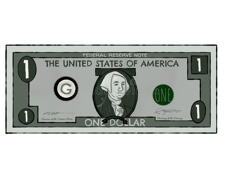 Tekening van Één enkele Amerikaanse dollarrekening royalty-vrije stock afbeelding