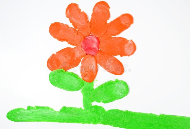 Tekening van bloem van plasticine. royalty-vrije stock afbeeldingen