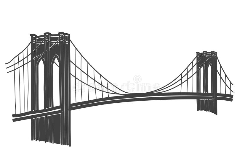 Tekening van de Brug van Brooklyn in New York