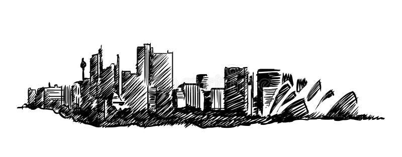 Tekening van de de horizon de vectorhand van Sydney